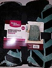 Better Homes and Gardens Velvet Plush to Sherpa 50quot x 60quot Throw Aquafier Herringbone