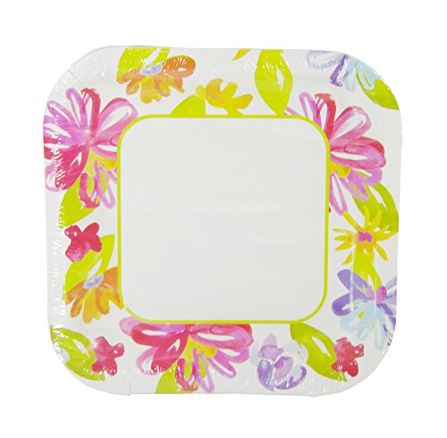 Spring Fling! Flower Art Square Paper Plates - 14-pc