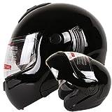 Gloss Black Dual Visor Modular Flip up Motorcycle Helmet DOT (XL)