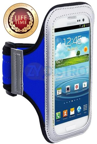 Mylife (Tm) Royal Blue + Black Velcro Strap (Light Weight Flexible Neoprene + Secure Running Armband) For Samsung Galaxy S3 And S4 Touch Phone (Designed For All Galaxy S3 And S4 Models From All Carriers + Universal One Size Fits All + Velcro Secured + Adj