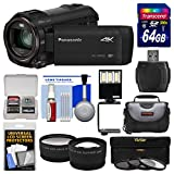 Panasonic HC-VX870 4K Ultra HD Wi-Fi Video Camera Camcorder with 64GB Card + Case + LED Light & Bracket + 3 Filters + Tele/Wide Lens Kit