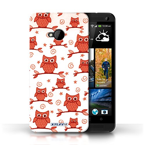 Stuff4 Phone Case / Cover For Htc One/1 M7 / Red/White Design / Cute Owl Pattern Collection / By Deb Strain / Penny Lane Publishing, Inc.