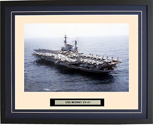 Navy Emporium - USS Midway CV-41 - Framed - Photo - Engraved Ship Name - Double Mat - Photograph - 16 X 20 - 50CV41Blue