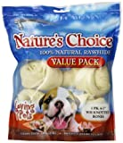 Loving Pets Nature's Choice 100-Percent Natural Rawhide White Knotted Bone Value Pack Dog Treat, 6-7-Inches, 3/Pack