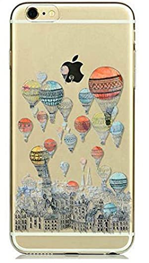 iPhone 7 , Colorful Rubber Flexible Silicone Case Bumper for Apple Clear Cover - Balloon