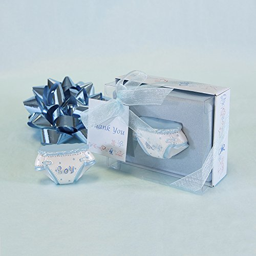 "Lunaura Baby Keepsake - Set of 12 ""Boy"" Diaper With Thank You Card Favors - Blue"