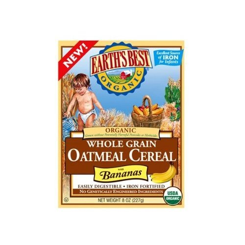 Earth's Best Organic Whole Grain Oatmeal Cereal with Bananas 8oz Boxes (Pack of 6)
