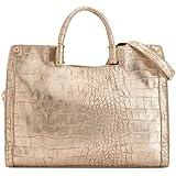 Ivanka Trump Rose Metallic Faux Croco Top Handle Bag