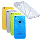 Etui Le Bon (tm) Case for Iphone 5c. Cover for Iphone 5c . Criss Cross Patern Clear Transparent. Subtle Diamond pattern in Silicone