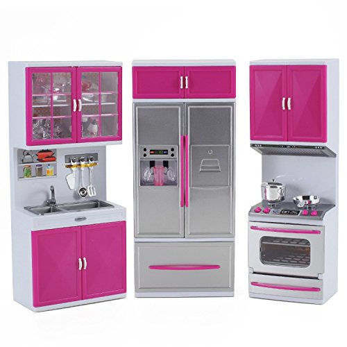 AMPERSAND SHOPS Modern Kitchen Play Set Full Deluxe Kit Battery Operated: Refrigerator, Stove, Sink (Stove And Fridge compare prices)