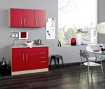 Minikuche Hochglanz Rot 120 cm mit Geräten und Spule - Vancouver