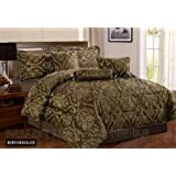 Ruby Chocolate Double Quilted 7 Pieces Bedspread Modern Damask Jacquard Luxury Comforter Complete Bedding Set...