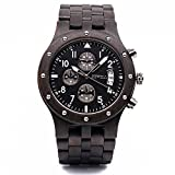 Bewell W109D Sub-dials Wooden Watch Quartz Analog Movement Date Wristwatch for Men(Black Sandalwood)