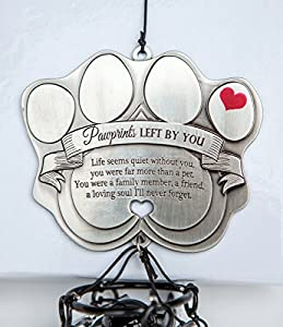 "Pet Memorial Wind Chime - 12"" Metal Casted Pawprint Wind Chime - A Beautiful Remembrance Gift For a Grieving Pet Owner- Includes ""Pawprints Left By You"" Poem Card."