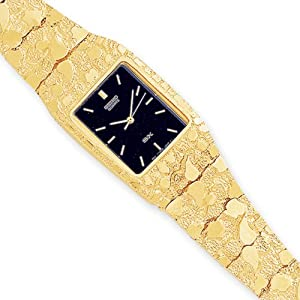 IceCarats Designer Jewellery 10Ct Black 27X47mm Dial Square Face Nugget Watch In 8 Inch