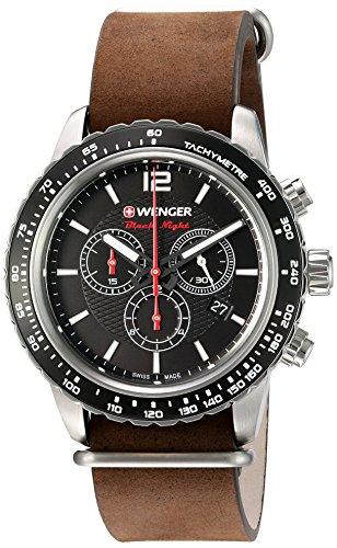 Wenger-Mens-Roadster-Swiss-Quartz-Stainless-Steel-and-Leather-Automatic-Watch-ColorBrown-Model-010853106