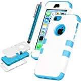 Pandamimi UlAK(TM) Colorful Heavy Duty Hybrid Rugged Hard Case Cover For Apple iPhone 5C with Screen Protector and Stylus (White + Blue)