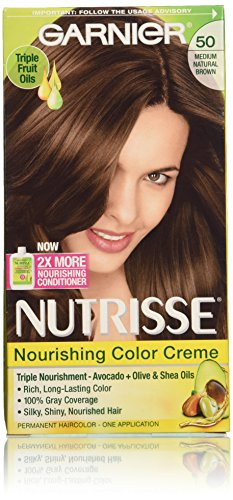 Garnier Nutrisse Nourishing Color Creme, 50 Medium Natural Brown, 3 Count (Natural Dye Hair compare prices)