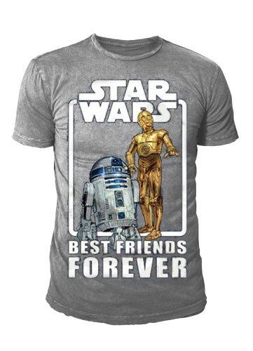 Star Wars T-Shirt C3 PO e Best Friends Forever R2 D2 grigio (S-XL) Grigio grigio