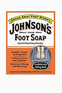 Johnson's Foot Soap Quick Dissolving Powder, 8 Packets (Pack of 4)