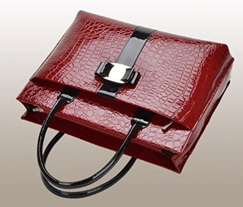 Maison De Décoration©Femmes sac en crocodile brevet Satchel Tote Sac à bandoulière Cowskin Rouge