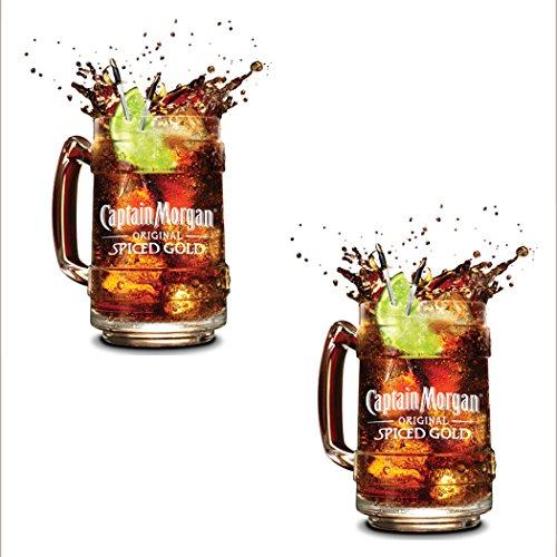 2-x-limited-edition-official-memorabilia-retro-captain-morgan-glass-tankard-drinking-mug-jar-glasses