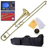 Mendini MTB-L Lacquer B Flat Tenor Slide Trombone, Gold