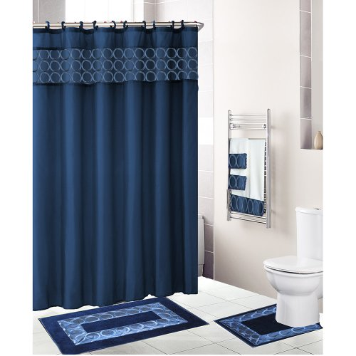 Navy blue 18 piece bathroom set fabric shower curtain 12 for Navy bathroom accessory sets