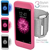 Armband for iPhone 6 / 6S - Includes 3 Silicone Case Colors ( Clear , Pink & Blue ) - Model AB1 by Mediabridge - (Part# AB1-I6-CL/PI/BL )