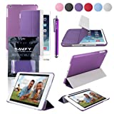 SAVFY New Apple iPad Air (2013 Edition) Ultra Thin Magnetic Smart Cover Stand & Slim TPU Back Case, with Auto Sleep and Wake Sensor for Apple iPad Air iPad 5 Generation, EXTRA Gift: SAVFY Stylus Pen + SAVFY Screen Protector Film (Available in Multiple Colors) -Purpleby SAVFY