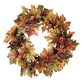 Melrose International 20-Inch Diameter Colorful Fall Maple Leaf Wreath