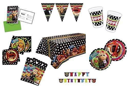 Partyware Muppets, confezione da 6, bicchieri, piatti, tovaglioli, inviti, borse, Tovaglia, festoni, 55 pezzi