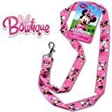 Disney Junior 17 Lanyard - Minnie Mouse Strap! Badge or Season Pass Holder! Display Collectible Disney Land Pins 2 Lobster Clasp