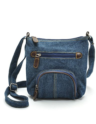 JollyChic Small Denim Bag Mini Crossbody Bag with 2 External Zip Pockets (Blue) (Blue Crossbody Purse compare prices)