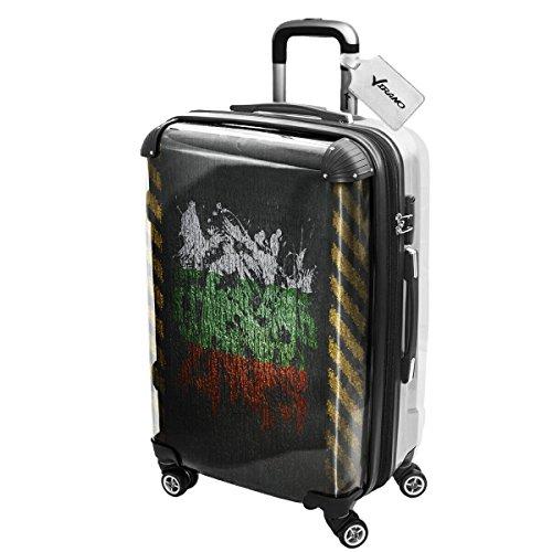 Graffiti Bandiera Bulgaria, Luggage Valigia Bagaglio Ultraleggero Trasportabile Rigido con 4 Route e Disegno Intercambiabile. Dimensione: Grande, L