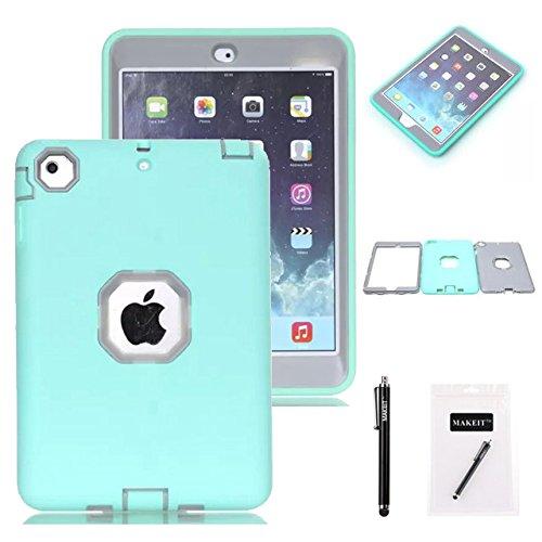 iPad Mini Case, iPad Mini 2/ 3 Case - MAKEIT 3in1 Hybrid Shockproof Case For iPad Mini 1/2/3 (Mint Green/Gray)