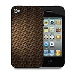 Snoogg Brown Pattern Layer Designer Protective Phone Back Case Cover For Apple Iphone 4