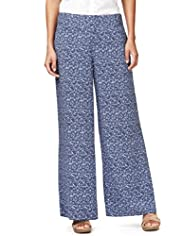 Indigo Collection Floral Palazzo Trousers
