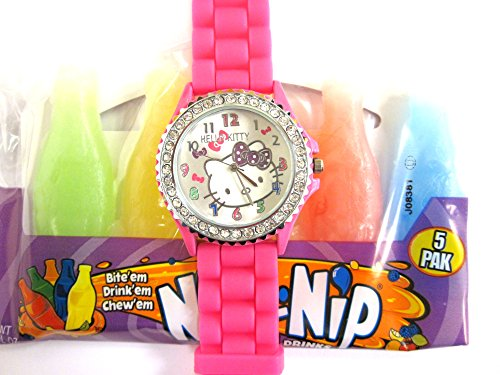 Hello Kitty Watch With Hot Pink Silicone Rubber Gel Band Graduation Gift - 5 Pieces Nik L Nip Candy Wax Bottle Mini Drink