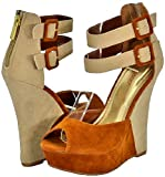 Bamboo Pompey-29 Chestnut Multi Women Wedge Sandals
