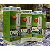 Philips Genie Classic Combo Pack 5,8,11-Watt CFL Bulb (Cool White And Set Of 3)