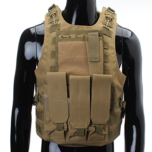 CAMTOA Tactical Vest Combat Molle Assault Military Army Airsoft Tactical SWAT Vest for Police Holster Tan 2