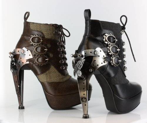 Hades Metropolis Oxford Gothic Steampunk Victorian Metal Gears Platform Ankle Boots Heels Color Brown Size 4