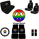 51nKqIlJqzL. SL160  Rainbow Peace Sign Symbol Multicolor Logo Car Truck SUV Auto Accessories Front & Rear Floor Mats Universal fit Bucket Seat Covers Bench Steering Wheel Cover & Shoulder Belt Pads Interior Combo Kit Gift Set   15PC