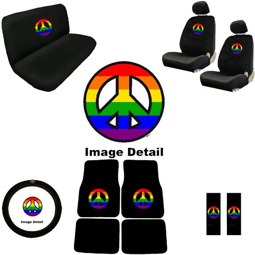 Rainbow Peace Sign Symbol Multicolor Logo Car Truck Suv Auto Accessories Front & Rear Floor Mats Universal-Fit Bucket Seat Covers Bench Steering Wheel Cover & Shoulder Belt Pads Interior Combo Kit Gift Set - 15Pc