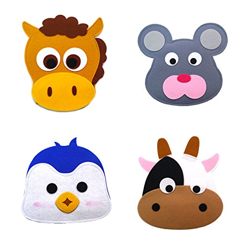 Animal Headband masks horse+mouse+penguin+cow