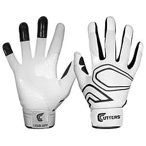 Cutters Gloves Men's Lead-Off Baseball Batting Glove, White/Black, Small