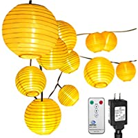 Oak Leaf 10-Foot 15-LED Oriental-Style Lantern Plug-In String Lights (White)