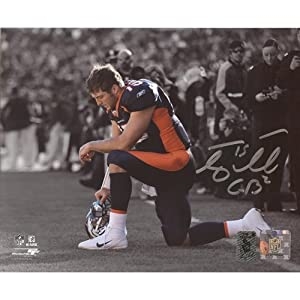 Tim Tebow Autographed Denver Broncos (Spotlight Tebowing) 8x10 Photo - Tebow Holo by PalmBeachAutographs.com