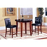 3 Pc Dark Marble Top Counter Height Bar Set , Table with 2 Stools